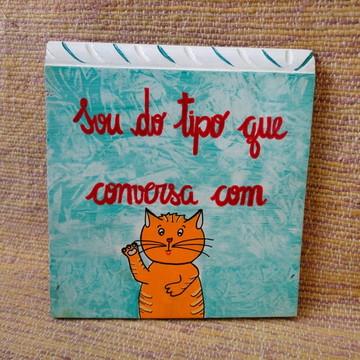 Placa Decorativa Gato