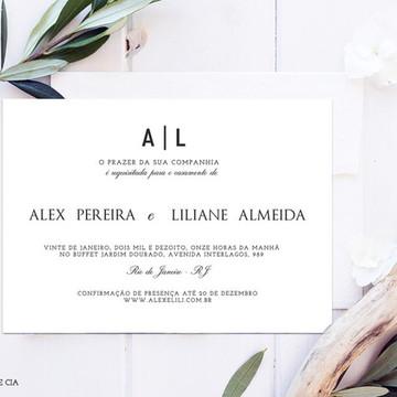 A74: Convite de Casamento Clássico Minimalista