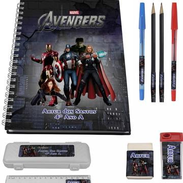 Kit Escolar + 1 Caderno - Vingadores