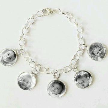Pulseira relicario foto cor prata