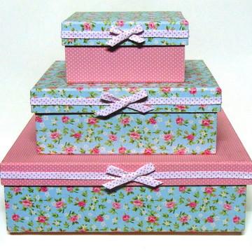 Trio de Caixas em Tecido -Estampada I