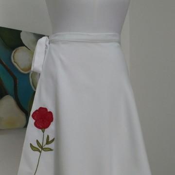 Bela Saia Flor Vermelha - Branca