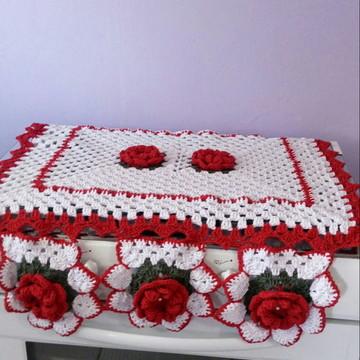 CAPA TAMPA DE VIDRO FOGAO 6 BOCAS em croche com flores
