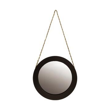 Espelho Redondo Preto com Sisal