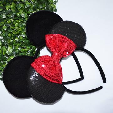 *1 Orelha Paetê vermelha luxo Minnie)( 1Orelha Michey luxo