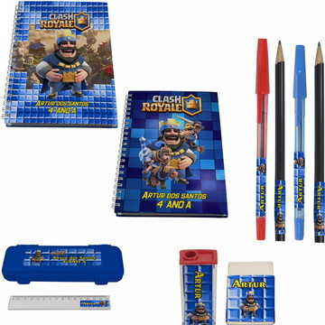 Kit Escolar + 2 Caderno - Clash Royale