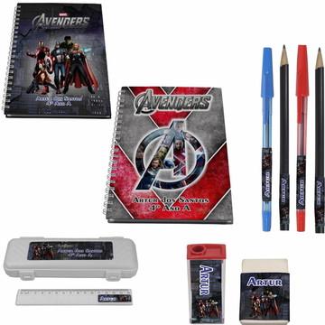 Kit Escolar + 2 Caderno - Vingadores