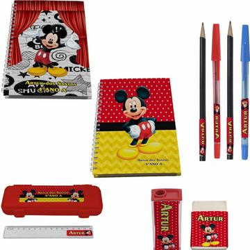 Kit Escolar + 2 Caderno - Mickey