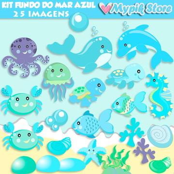 Kit Digital Fundo do Mar Cute Azul