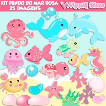 Kit Digital Fundo do Mar Cute Rosa