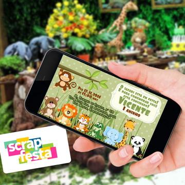 Convite Arte Digital Personalizado Festa Safari