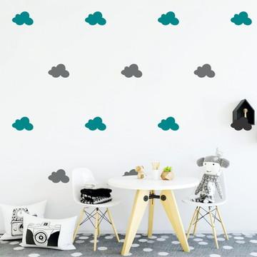 Adesivo nuvens cinza e turquesa