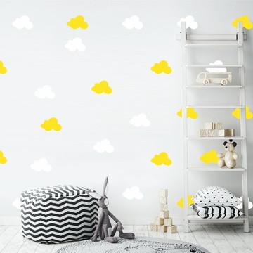 Adesivo nuvens branco e amarelo