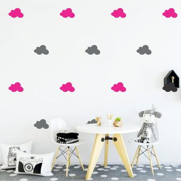 Adesivo nuvens cinza e pink