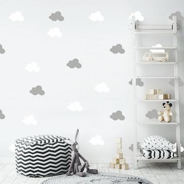 Adesivo nuvens cinza e branco