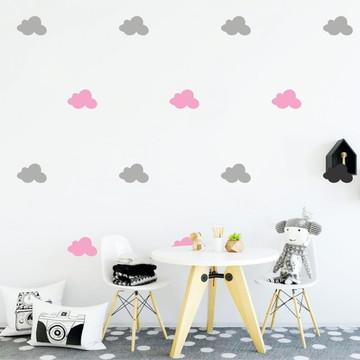 Adesivo nuvens cinza e rosa