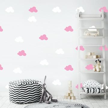 Adesivo nuvens branco e rosa