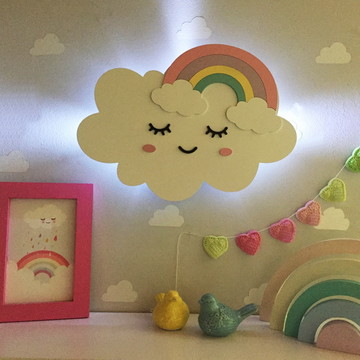 Decoração Nuvem / Arco Íris com luz de led