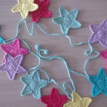 Bandeirola Estrelas de Crochê