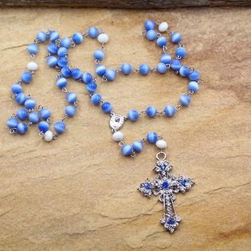 Terço de Nossa Senhora catolico azul artigos religiosos