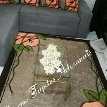 Tapete para sala flor orquídea frufru anti derrapante