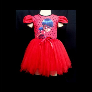 vestido infantil fantasia festa bailarina ladybug