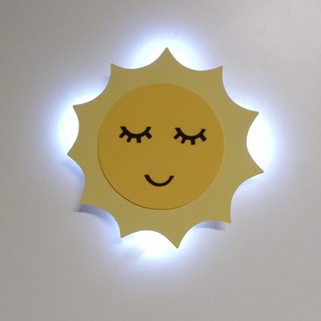Luminaria solzinho com luz de led quarto de bebe