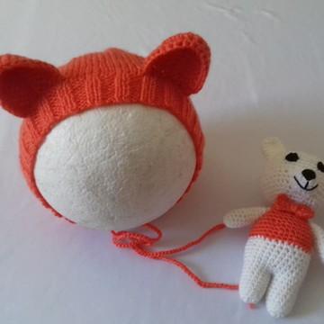 Touca Ursinho em tricô e Amigurumi
