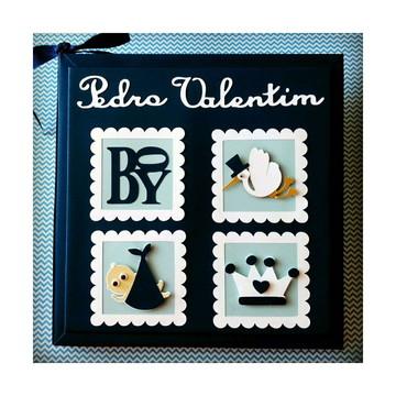 Livro Bebê personalizado menino Príncipe scrapbook marinho