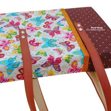 Bolsa/Pasta para Notebook em Cartonagem e Tecido
