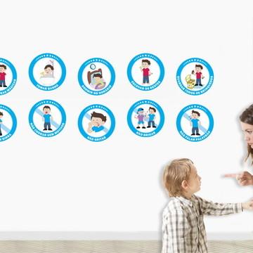 Educação Infantil 10 Adesivos Regras