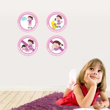 Kit Educativo 4 Adesivos Regras Infantil