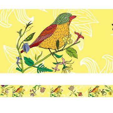 Faixa Decorativa Pássaro e Folhagem