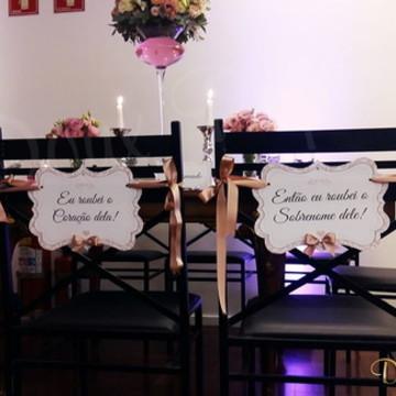 Placa Cadeira dos Noivos+ taxa de urgência
