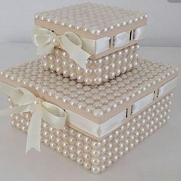Conjunto de Caixas com pérolas e passa fita