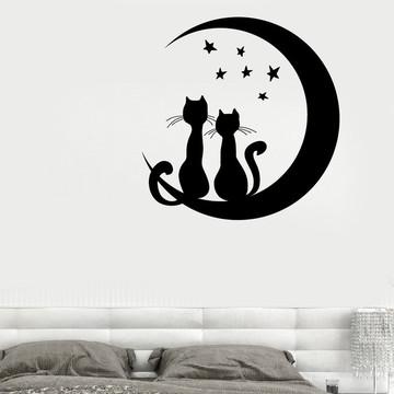adesivo para cabeceira de cama gatos