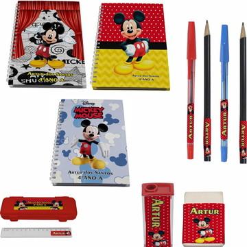 Kit Escolar + 3 Caderno - Mickey