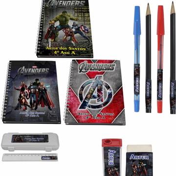 Kit Escolar + 3 Cadernos - Vingadores
