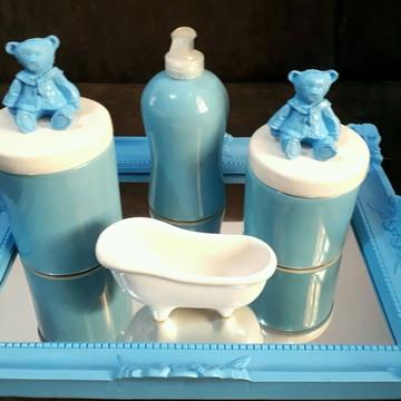 Kit higiene em porcelana urso azul