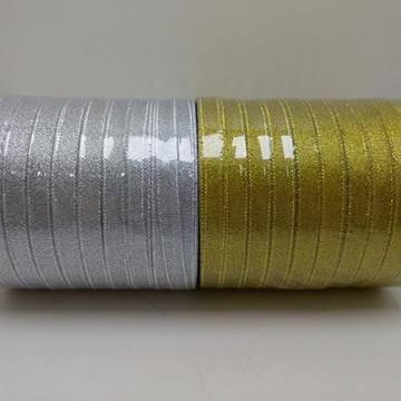 Fita Sintetica 10mm para Laços e Presentes Dourada ou Prata