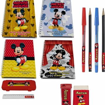 Kit Escolar + 4 Cadernos - Mickey