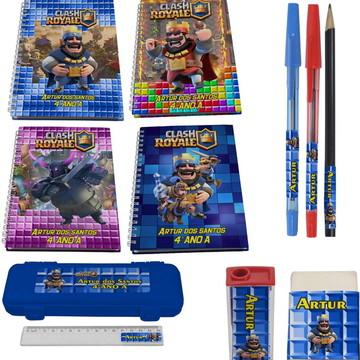 Kit Escolar + 4 Cadernos - Clash Royale