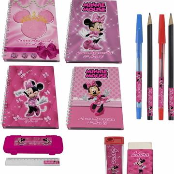 Kit Escolar + 4 Cadernos - Minnie Rosa