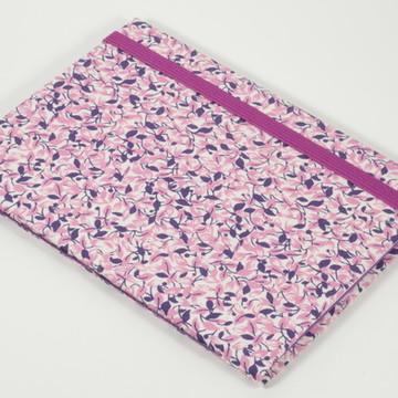 Caderno A6 com capa em tecido - Folhas Roxas