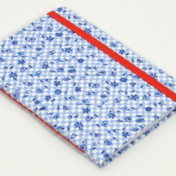 Caderno A6 com capa em tecido - Floral Azul Quadriculado