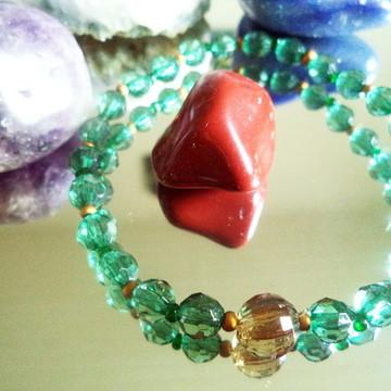 Pulseira cristais sintéticos verdes
