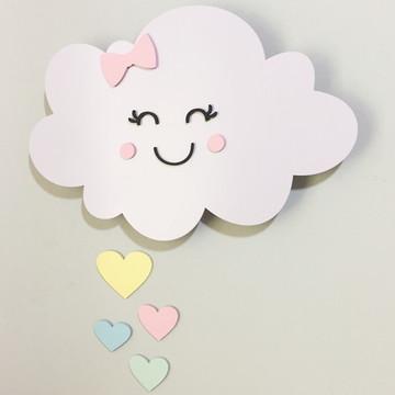 Nuvem com luz de led com gotas - 40 cm