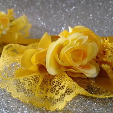 Faixa para gestante barriga com flores e adereço para cabelo