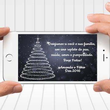 Cartão de Natal Digital - Árvore de Natal cor azul