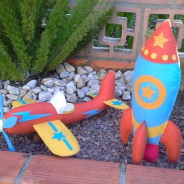 Kit Avião e foguete de feltro